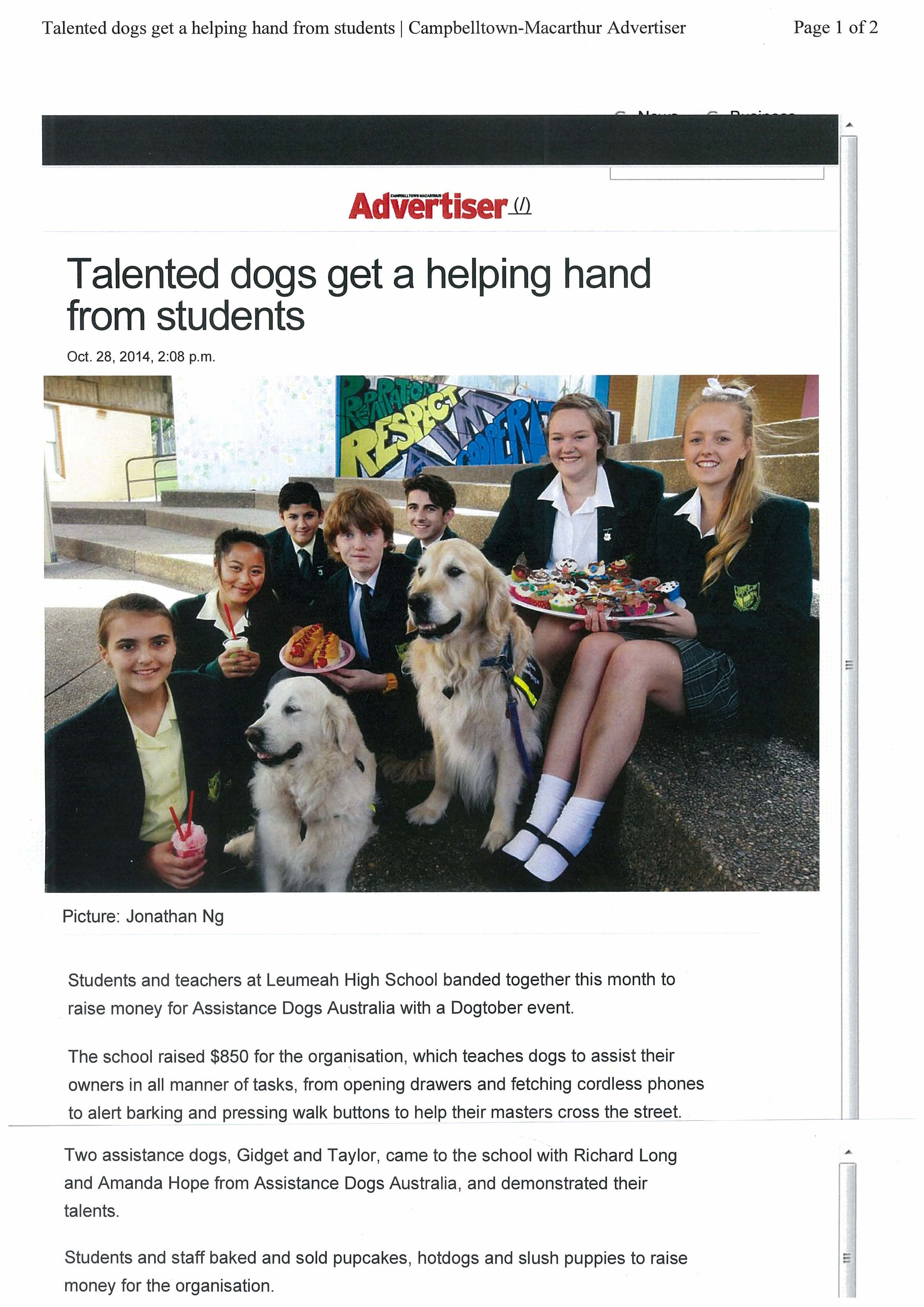 Students fundraised for Assistance Dogs Australia.