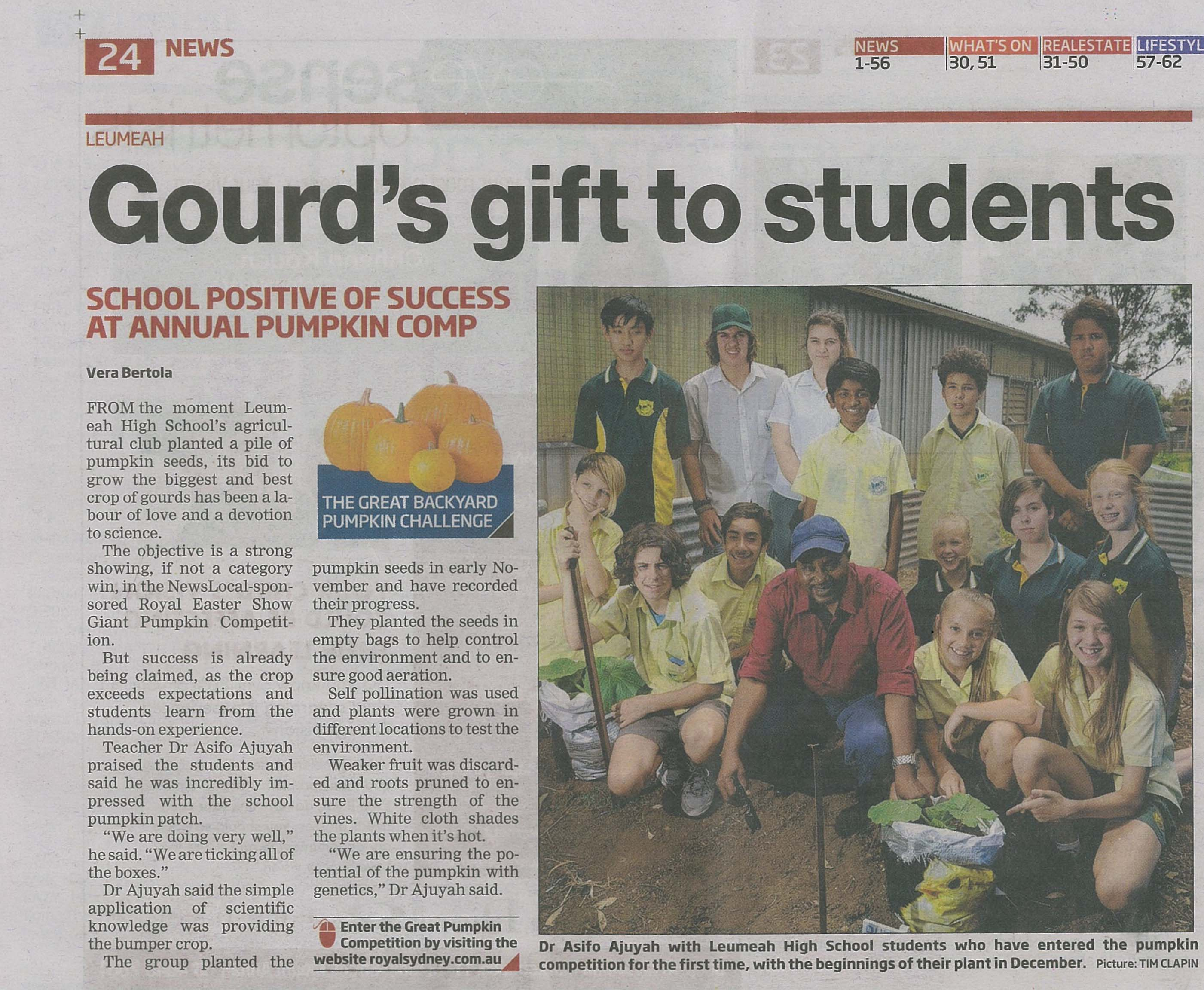 Newspaper article regarding the schools Giant Pumpkin